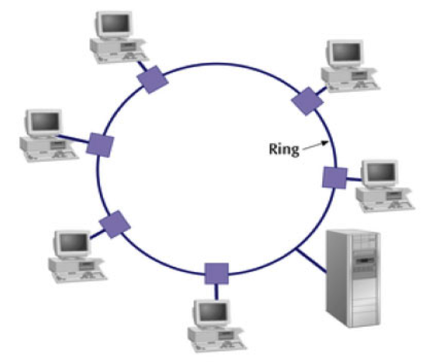 Network information ring topology hybrid topology and wirless topology this creates a physical ring of cable a signal is passed along the ring in one direction from device to device until it reaches the destination ccuart Gallery