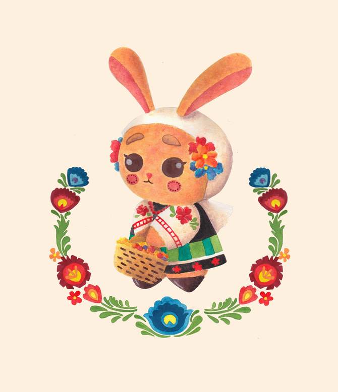The Cute Bunny in Polish Costume Illustration Printed on Merchandise Illustration by Haidi Shabrina