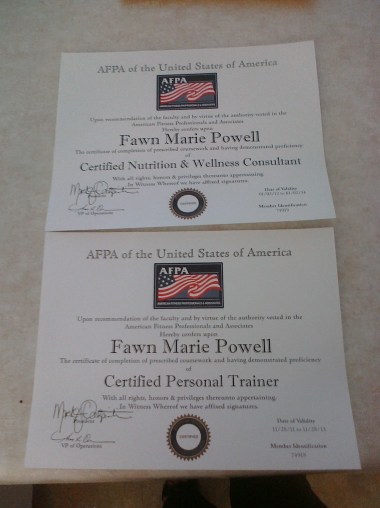One Life, One Body, Run Strong!!!: AFPA Certification