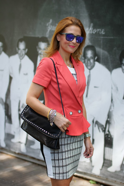 Apricot peplum blazer, Oakley sunglasses, Patrizia Pepe, studded clutch, Fashion and Cookies, fashion blogger
