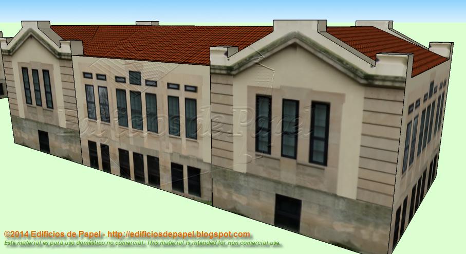 Maqueta de papel, fachada posterior
