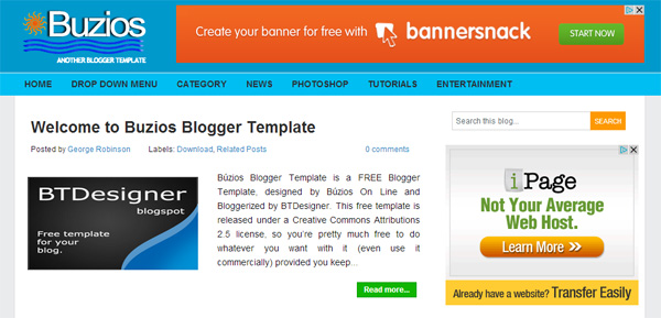 Buzios Blogger Template blue blogspot theme design