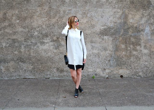 vince colorblock shirtdress