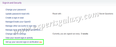 Yahoo Second Sign-In Option