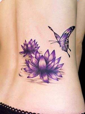 Free amazing styles tattoo designs for women for Lotus flower and butterfly tattoo designs