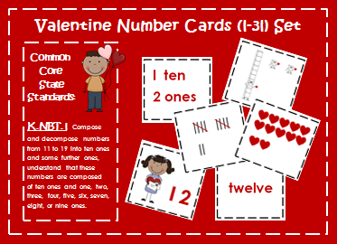 http://www.teacherspayteachers.com/Product/Valentine-Number-Cards-1-31-Place-Value-Ten-Frames-Number-Words-Tally-465076