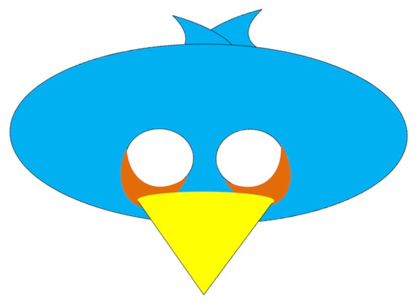 Máscara de Angry Bird azul.