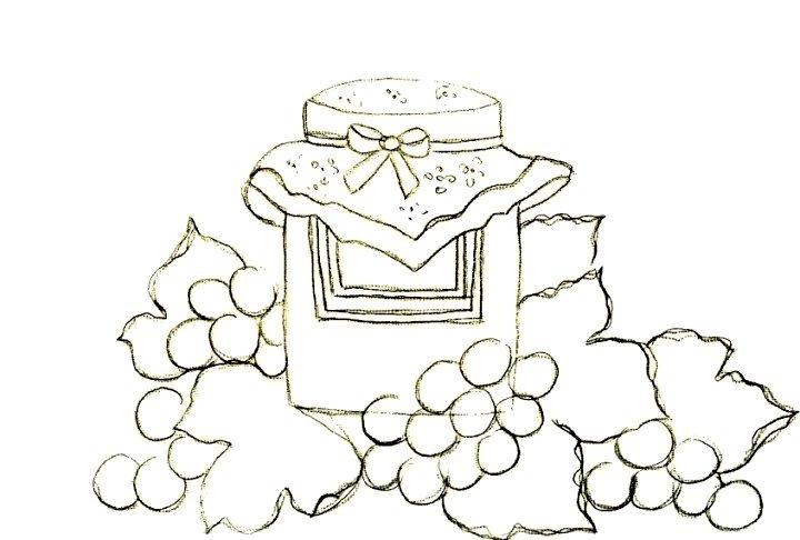 cestas de frutas riscos de potes de geleia de frutas para pintar