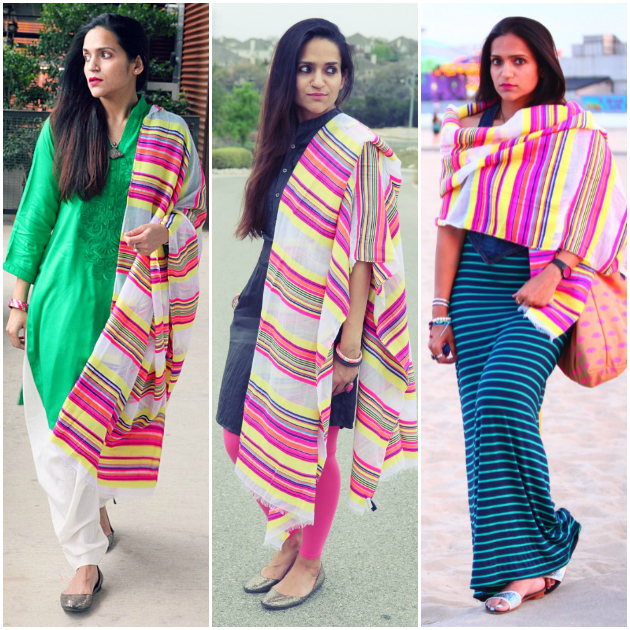 Three Ways To Style A Striped Scarf, Tanvii.com