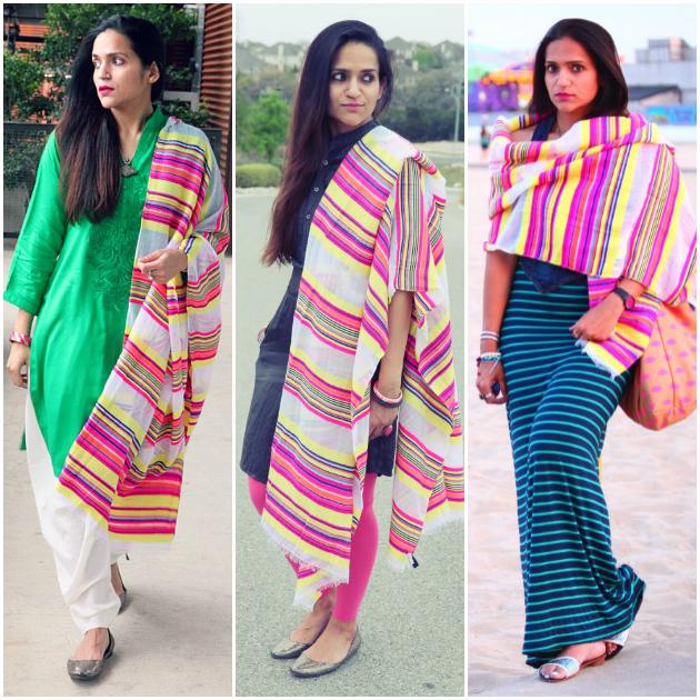 Three Ways To Style A Striped Scarf, Tanvii.com
