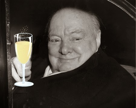 churchill with a cocktail