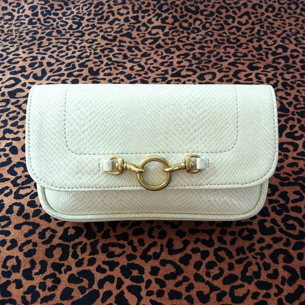 Hipsters for Sisters Cruelty free White Snakeskin Clutch