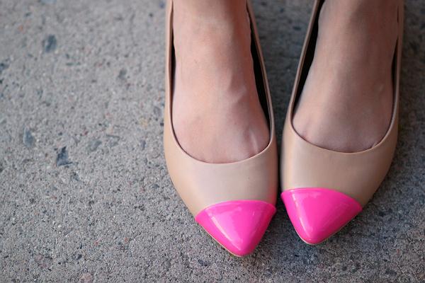 neon cap toe shoes