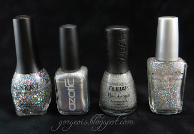 Venique Twinkling Glitter, Ozotic 509, Nubar Hologram Glitter, Wet n Wild Cheers
