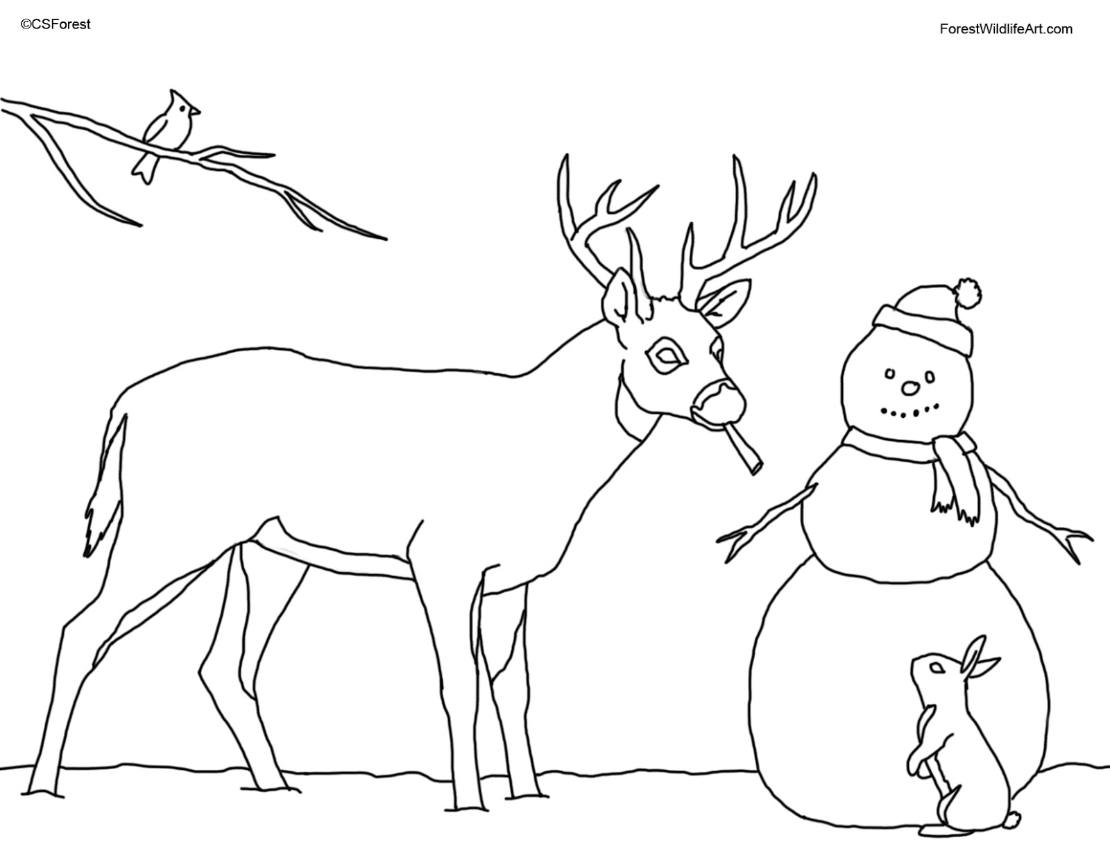 crista forests animals art coloring book page for kids christmas deer and snowman