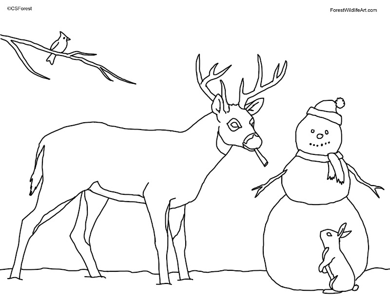 Coloring Book Page for Kids - Christmas Deer and Snowman title=