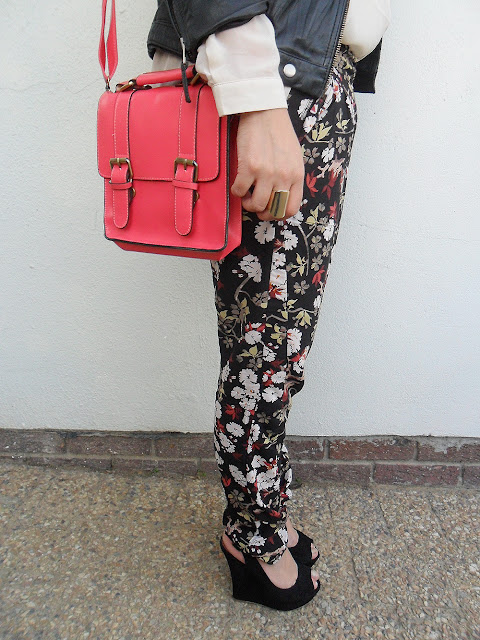 floral pants, pink satchel, aldo wedges, sheer blouse, gold bracelets