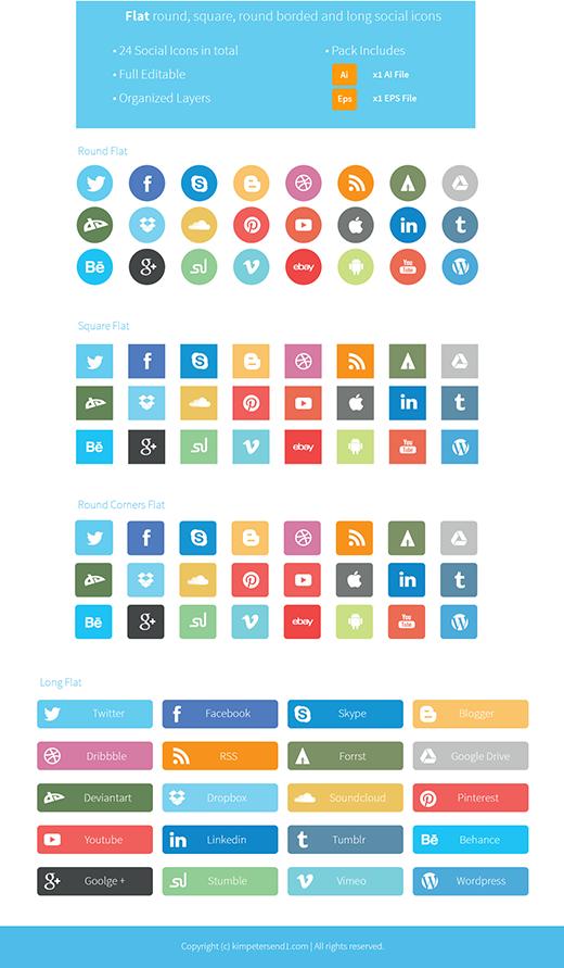 24 Modern Social Media Icons