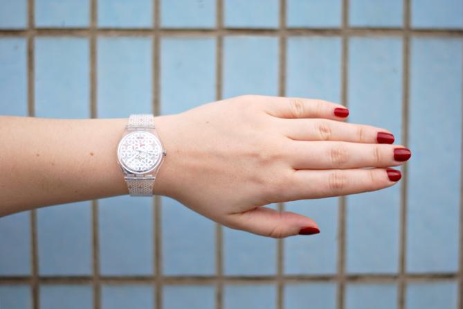 Transparent Flower Swatch Watch