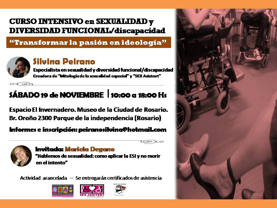 """Curso intensivo """"Sexualidad y diversidad funcional/discapacidad"""". TRANSFORMAR LA PASIÓN EN IDEOLOGÍ"""