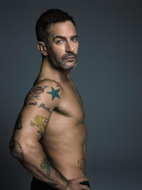 Marc Jacobs shirtless showing spongebob tatoo on arm
