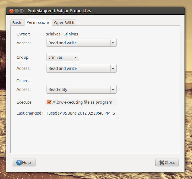 portmapper jar file permissions
