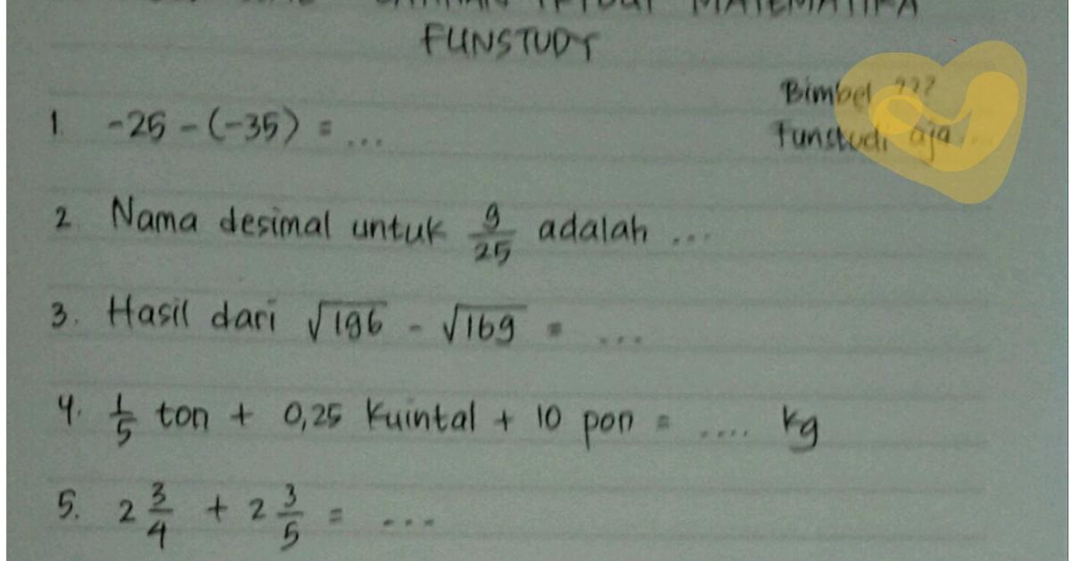 Funstudy Latihan Tryout Matematika Kelas 6 Sd I