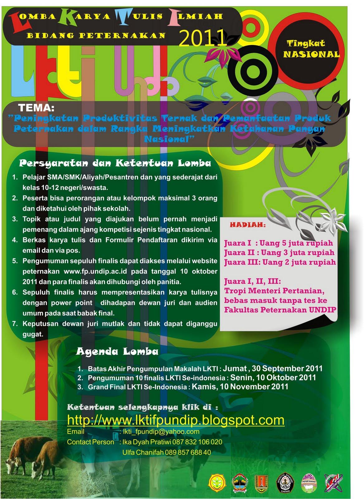 279515 2182867461648 1545837974 32383178 2030359 o Lomba Karya Tulis Ilmiah (LKTI) 2011 Bidang Peternakan