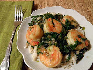 Plate of Shrimp Braised with Kale