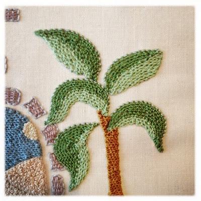 Stumpworkbroderi. Palmetræ. Detached buttonhole filling. Embroidery.