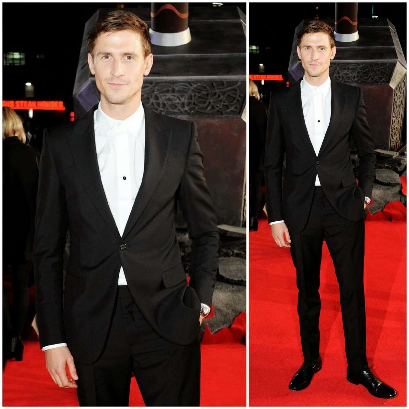 00o00 menswear blog: Jonathan Howard in Alexander McQueen - 'Thor: The Dark World' premiere, London
