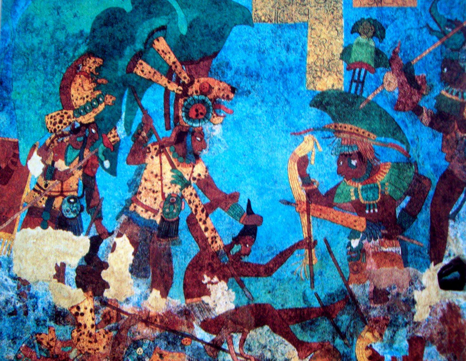 vista de uno de los murales de Bonampak
