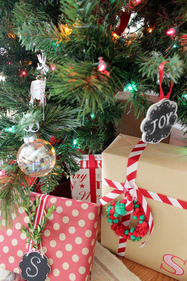 polka dot and brown paper Christmas presents