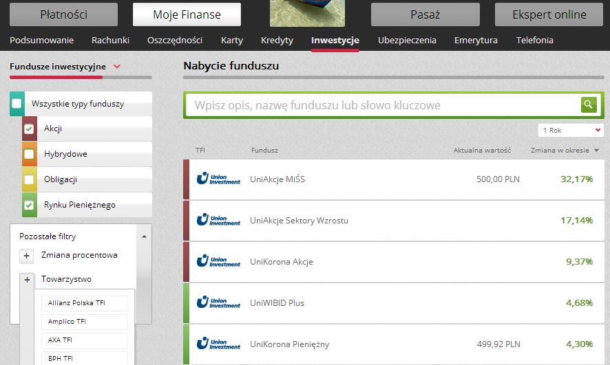 Fundusze Inwestycyjne, mBank