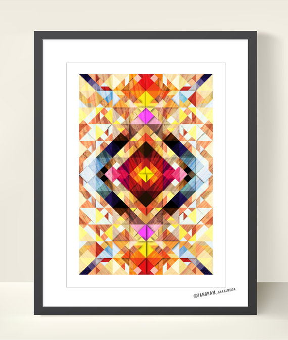Explosion of Colors - Geometric Tangram Illustration Poster by TANGRAMartworks