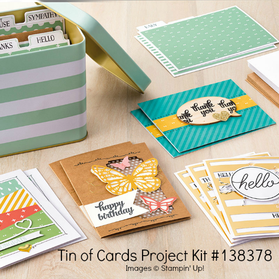 Photo image of Stampin' Up! Tin of Cards Project Kit with storage tin and completed cards.