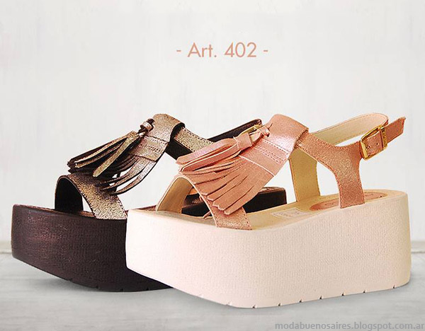 Sandalias en tonos metalizados tendencia de moda 2015, Anca & Co.