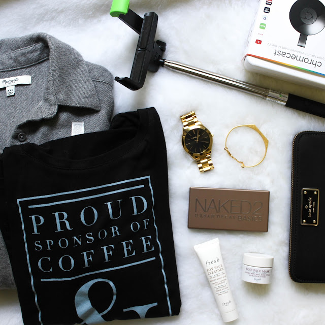 Holiday Gift Round-Up: Madewell, Etsy, Fresh soy cleanser, rose face mask, Kate Spade wallet, Michael Kors, Naked 2 palette, tech, selfie stick, chrome cast
