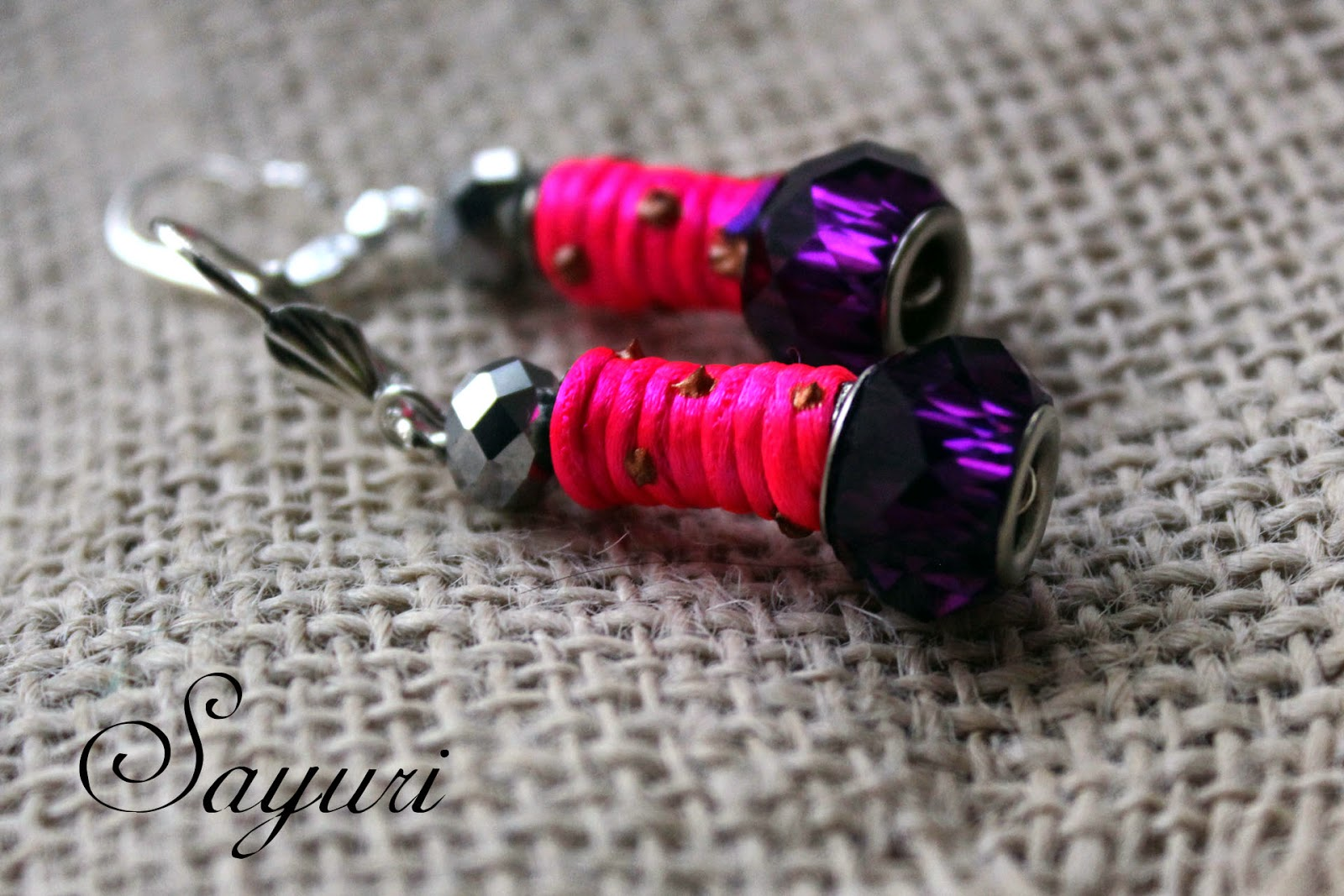 DIY yarn and bead earrings