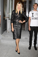 Karolina Kurkova strikes a pose in leather outfit at Versace Soho Store Opening