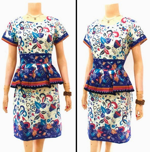 DB3827 Model Baju Dress Batik Modern Terbaru 2014
