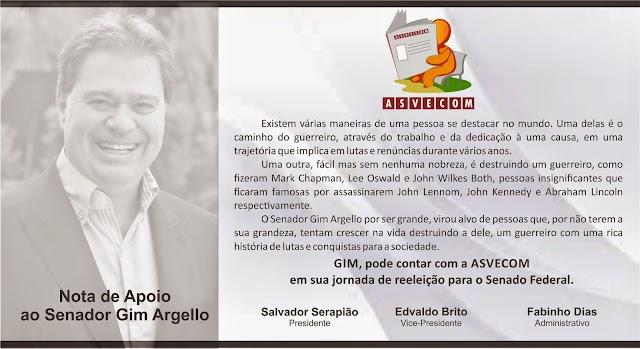 NOTA DE APOIO AO SENADOR GIM ARGELLO