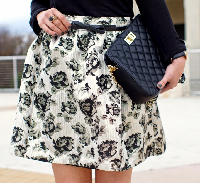 metallic floral brocade midi skirt
