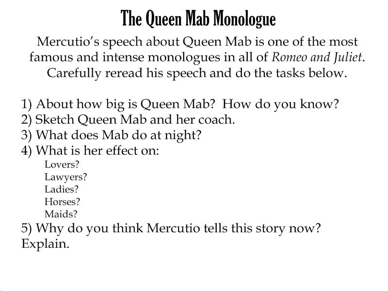 mercutios queen mab speech in shakespeares romeo and juliet