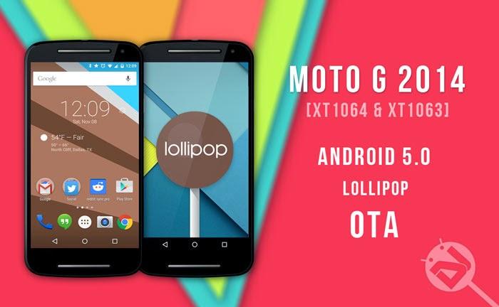 Linha Moto G com Lollipop