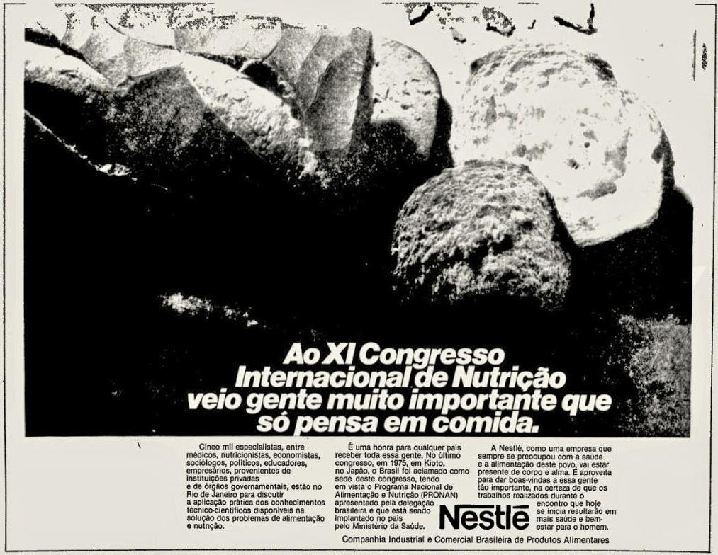 nestle.  os anos 70; propaganda na década de 70; Brazil in the 70s, história anos 70; Oswaldo Hernandez;