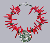 Hot and Chic Flower Red Turquoise Neckace