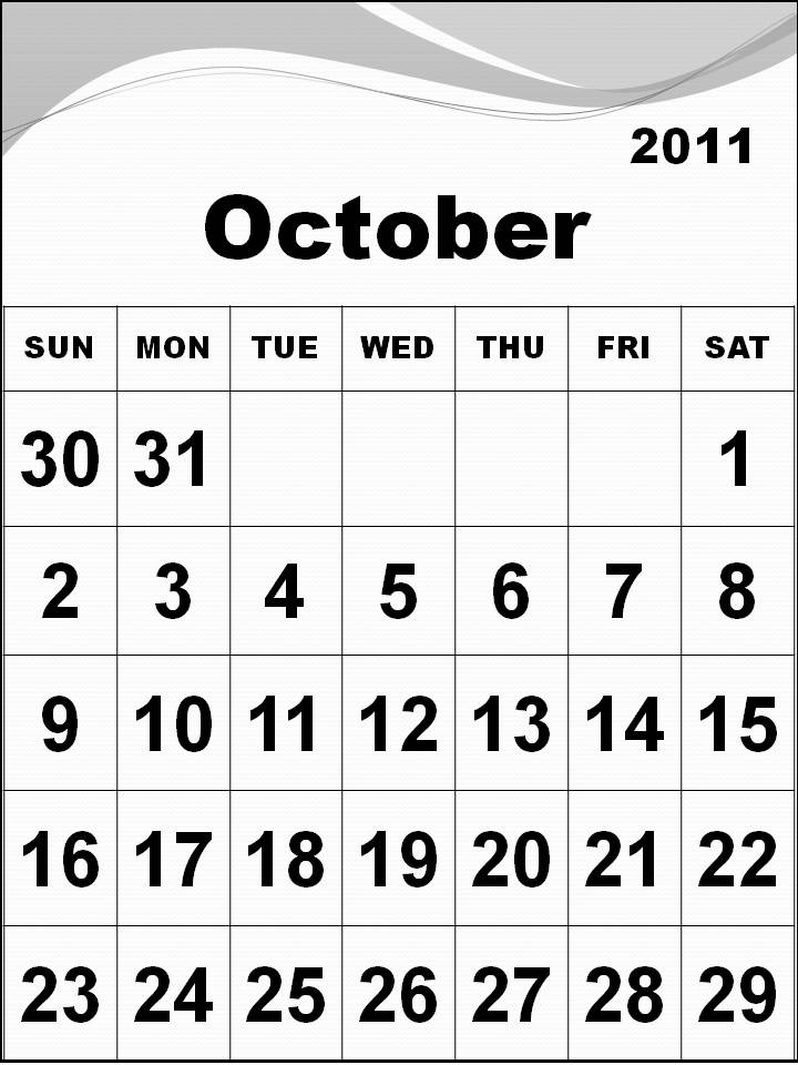 October 2011 Calendar. Calendar 2011 October with