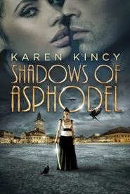cover art for Shadows of Asphodel, featuring a young woman standing alone in a large cobbled square, drawn sword in hand. Above her, the faces of a woman and a man are superimposed over the night sky