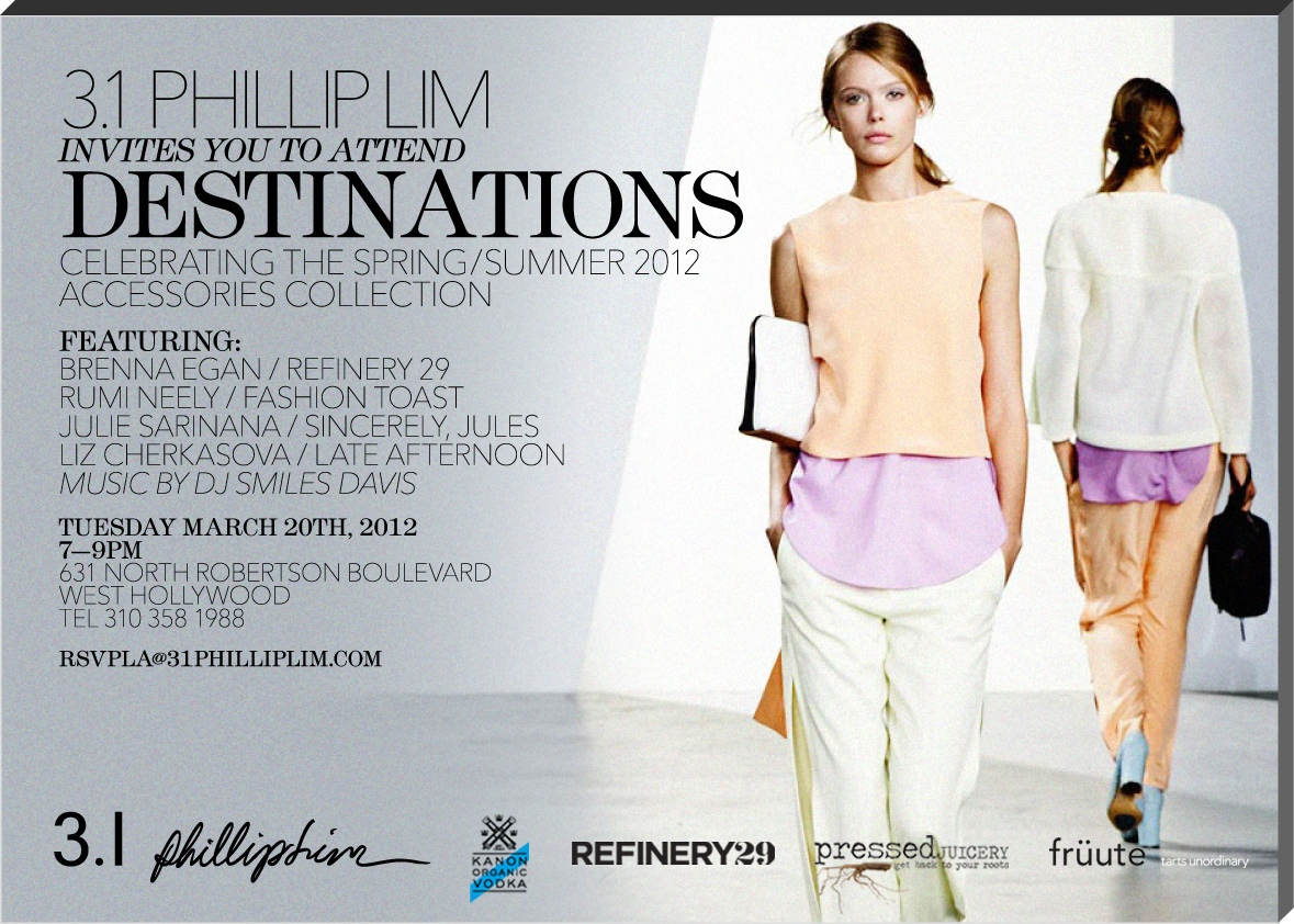 Join Me Sincerely Jules And Fashion Toast At The 3 1 Philip Lim And Refinery 29 Party Tomorrow Night